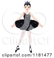 Cartoon Of A Blond Ballerina In A Black Tutu And Crown Royalty Free Vector Clipart