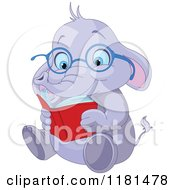 Cartoon Of A Cute Elephant Wearing Glasses And Reading Royalty Free Vector Clipart by Pushkin