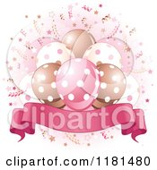 Cartoon Of A Banner Under Party Balloons And Confetti With Pink Royalty Free Vector Clipart