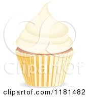 Clipart Of A Vanilla Cupcake Royalty Free Vector Illustration by elaineitalia