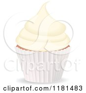 Clipart Of A Vanilla Cupcake In A White Cup Royalty Free Vector Illustration by elaineitalia