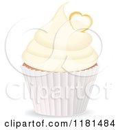 Clipart Of A Vanilla Cupcake With A Heart Royalty Free Vector Illustration by elaineitalia