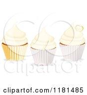 Clipart Of Three Vanilla Cupcakes Royalty Free Vector Illustration