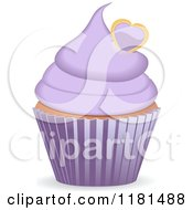 Clipart Of A Purple Cupcake With A Heart Royalty Free Vector Illustration
