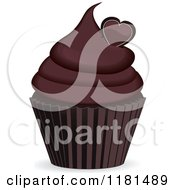 Clipart Of A Chocolate Cupcake With A Heart Royalty Free Vector Illustration