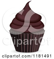 Clipart Of A Chocolate Cupcake In A Brown Cup Royalty Free Vector Illustration by elaineitalia