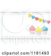 Clipart Of Colorful Cupcakes And Heart Banner With Copyspace Over Hexagons Royalty Free Vector Illustration