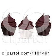 Clipart Of Three Chocolate Cupcakes Royalty Free Vector Illustration