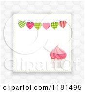 Clipart Of A Pink Cupcake And Heart Banner With Copyspace Over Hexagons Royalty Free Vector Illustration