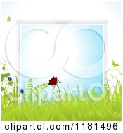 Clipart Of A Butterfly With Grasses And Flowers Over A Blue Burst Royalty Free Vector Illustration