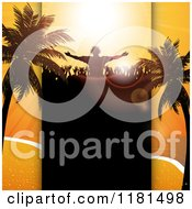 Clipart Of A Silhouetted Dj And Crowd With Palm Trees And Copyspace Over A Beach Scene Royalty Free Vector Illustration
