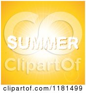 Clipart Of A SUMMER Shaped Cloud Over An Orange Bright Sky Royalty Free Vector Illustration
