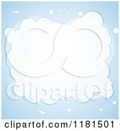 Clipart Of A Bird And Cloud Frame On Blue Royalty Free Vector Illustration