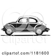 Clipart Of A Grayscale Volkswagen Beetle Royalty Free Vector Illustration