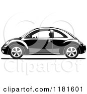 Clipart Of A Grayscale Volkswagen Beetle 2 Royalty Free Vector Illustration