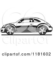 Clipart Of A Grayscale New Volkswagen Beetle Royalty Free Vector Illustration