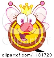 Cartoon Of A Happy Queen Bee With Pink Wings And A Crown Royalty Free Vector Clipart by Hit Toon