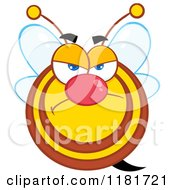 Cartoon Of A Grumpy Bee Royalty Free Vector Clipart by Hit Toon