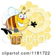 Cartoon Of A Happy Waving Bee Flying With A Honey Bucket Over Honeycombs Royalty Free Vector Clipart by Hit Toon