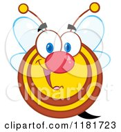 Cartoon Of A Happy Bee Royalty Free Vector Clipart by Hit Toon