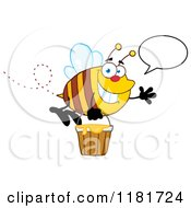 Cartoon Of A Happy Talking Waving Bee Flying With A Honey Bucket Royalty Free Vector Clipart