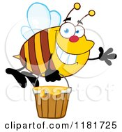 Cartoon of a Happy Waving Bee Flying with a Honey Bucket - Royalty Free Vector Clipart by Hit Toon