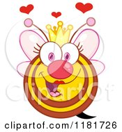 Cartoon Of A Happy Queen Bee With Hearts Pink Wings And A Crown Royalty Free Vector Clipart