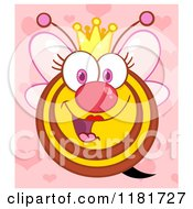 Cartoon Of A Happy Queen Bee Over Pink With Hearts Royalty Free Vector Clipart