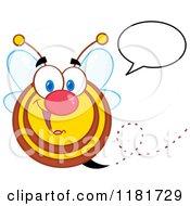 Cartoon Of A Happy Talking Bee Royalty Free Vector Clipart