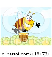 Cartoon Of A Happy Waving Bee Flying With A Honey Bucket Over Flowers Royalty Free Vector Clipart by Hit Toon