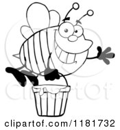 Cartoon Of A Happy Waving Black And White Bee Flying With A Honey Bucket Royalty Free Vector Clipart by Hit Toon