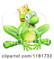 Cartoon Of A Grinning Frog Prince With A Lipstick Kiss On His Cheek Royalty Free Vector Clipart