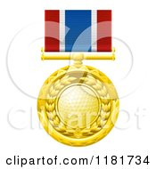 Clipart Of A Gold Golf Ball Medal On A Ribbon Royalty Free Vector Illustration
