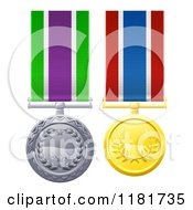 Silver And Gold Military Style Medals On Striped Ribbons