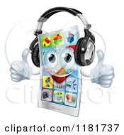 Clipart Of A Happy Smart Phone Holding Two Thumbs Up And Wearing Headphones Royalty Free Vector Illustration