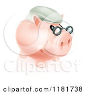 Cartoon Of A Pension Piggy Bank With Glasses And A Hat Royalty Free Vector Clipart