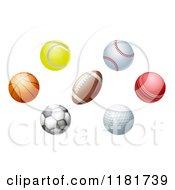 Clipart Of Golf Cricket Soccer Football Baseball Basketball And Tennis Balls Royalty Free Vector Illustration by AtStockIllustration