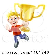 Cartoon Of A Victorious Blond Man Holding A Gold Trophy Cup Royalty Free Vector Clipart by AtStockIllustration