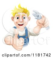 Cartoon Of A Happy Blond Worker Man Holding A Thumb Up And Wrench Royalty Free Vector Clipart