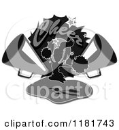 Clipart Of Grayscale Cheer Text Over A Cheerleader And Megaphones Royalty Free Illustration