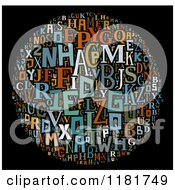 Clipart Of A Colorful English Alphabet Circle Collage On Black Royalty Free Illustration by MacX