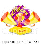 Clipart Of Cheer Text Over A Cheerleader And Megaphones Royalty Free Illustration by MacX