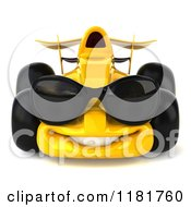 Clipart Of A 3d Yellow Race Car Wearing Sunglasses Royalty Free CGI Illustration by Julos