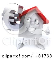 3d White Clay Home Holding A Euro Symbol And A Thumb Up