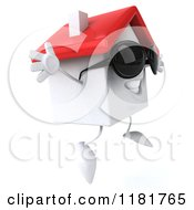3d White Clay Home Wearing Sunglasses And Jumping