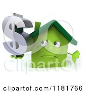 Clipart Of A 3d Green House Holding A Dollar Symbol And A Thumb Down Royalty Free CGI Illustration