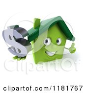 Clipart Of A 3d Green House Holding A Dollar Symbol And A Thumb Up Royalty Free CGI Illustration