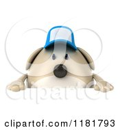 Clipart Of A 3d Chubby Dog Wearing A Cap Over A Sign Royalty Free CGI Illustration