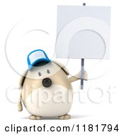 Clipart Of A 3d Chubby Dog Wearing A Cap And Holding A Sign Royalty Free CGI Illustration