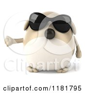 Clipart Of A 3d Chubby Dog Wearing Sunglasses And Presenting Royalty Free CGI Illustration